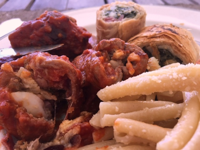 Served with Homemade Pasta and My Spinach, Feta & Mozzarella Rolls wrapped in Phyllo